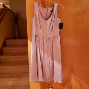 Ellen Tracy fit and flare satin lilac dress 8